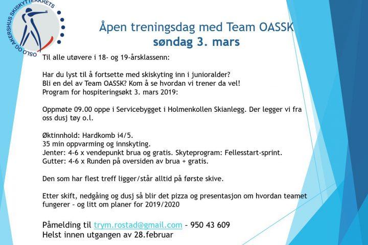 Informasjon om åpen treningsdag søndag 3 mars kl 09:00 i Holmenkollen