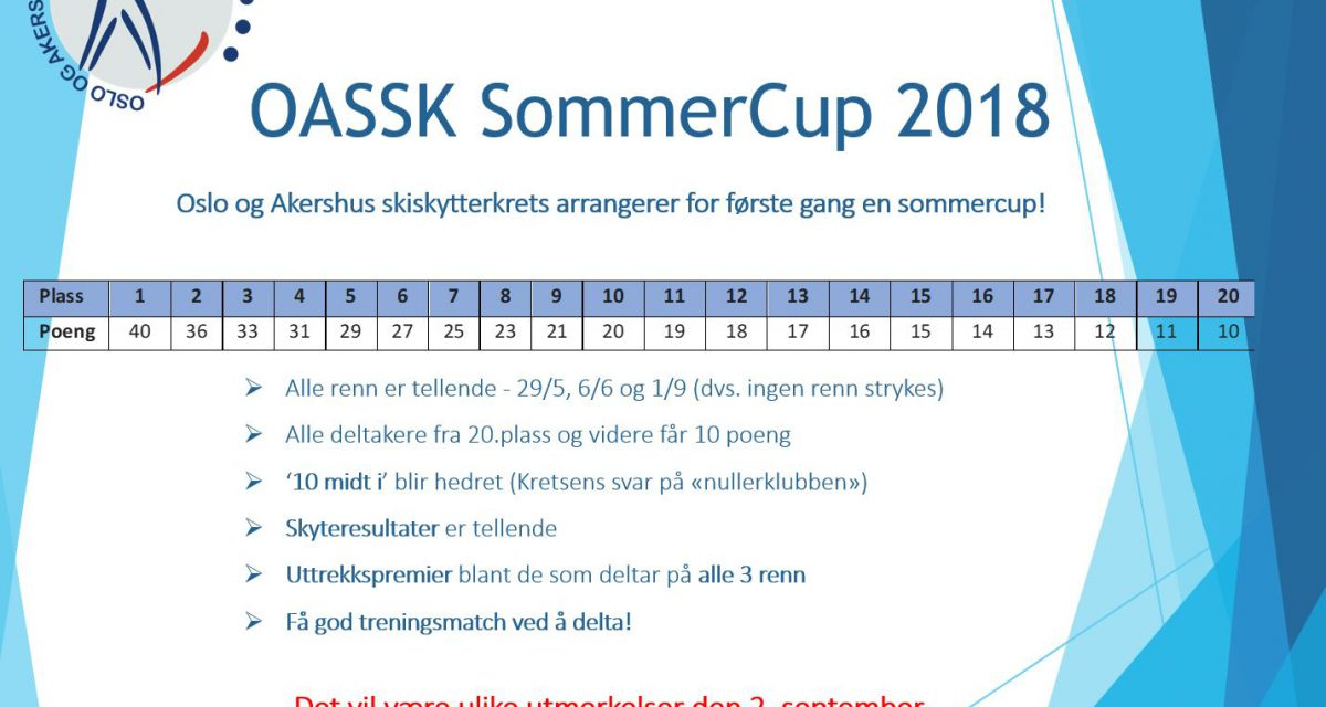 OASSK SommerCup – Poengskala og utmerkelser