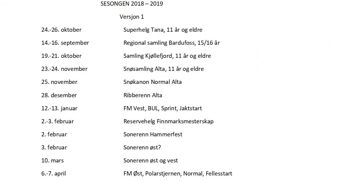 Terminliste FSSK 2018/2019